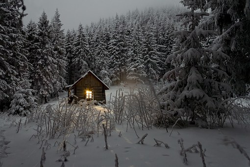 bild snöstuga
