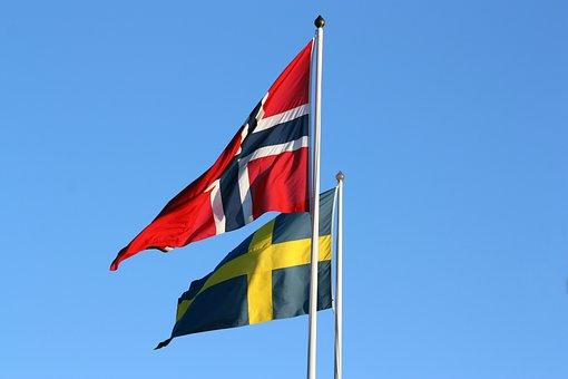 bild norsksvensk flagga